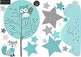 greenluup große, ökologische Wandsticker aus Vlies Bär Baum Tiere Sterne dark Mint Türkis Grau Baby Kinder Junge Mädchen Kinderzimmer Babyzimmer (w10)