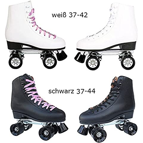 Vera pelle–Pattini a rotelle/Disco Roller Bianco o Nero con Stopper taglia 37–44in qualità TOP, bianco, 38