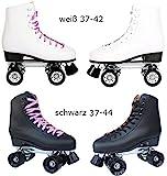 Echtleder Rollschuhe / Discoroller schwarz mit Stopper