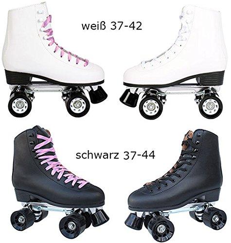Echtleder Rollschuhe / Discoroller schwarz mit Stopper Gr. 37 - 44 in Top Qualität (schwarz - 39)