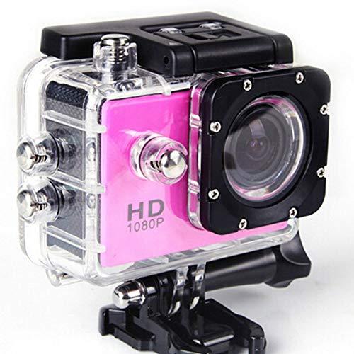 Action-Kameras, HD 1080P Sport DV Hd 2.0 Zoll 90 Grad Klettern Tauchen Wasserdichte Sport Kamera Unterstützung TF-Karte Schwimmen Climbing_Pink