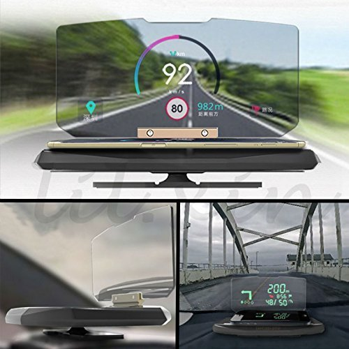 Rivero Head Up display - Car GPS Navigation immagine riflettore staffa di montaggio universale HUD porta cellulare e culla HUD Car Display Archos 55 Helium Ultra