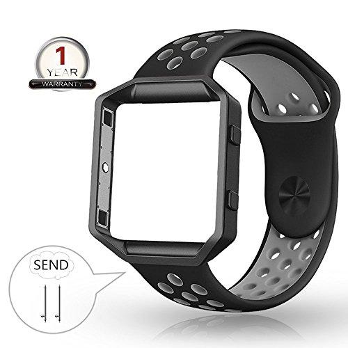 YOUKESI Fitbit Blaze Armband Silikon mit Rahmen, Große atmungsaktive Sport Ersatzband mit Silber Metallgehäuse für Smart Fitness Watch Damen Herren (Schwarzgrau Große)