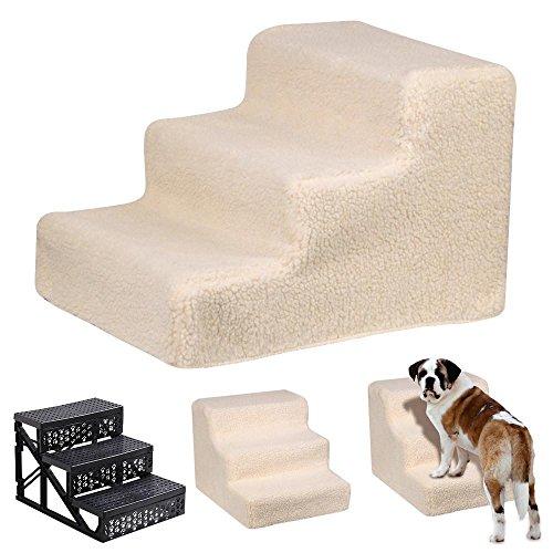 Yaheetech Hundetreppe Katzentreppe Haustiertreppe mit 3 Stufen, 45 x 35 x 30 cm, Einstiegshilfe für kleinere Hunde Katze, Beige