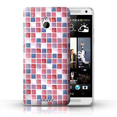 Kobalt® Imprimé Etui / Coque pour HTC One/1 Mini / Jaune/Marron conception / Série Carreau Bain Rouge/Bleu
