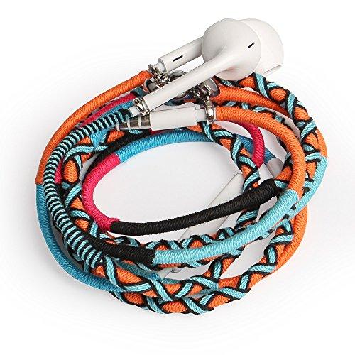 URIZONS In Ear Kopfhörer, In-Ohr Kopfhörer mit Mikrofon und Fernbedienung Handgefertigte Stoff Geflochtene Tribe Thread Wrapped Armband Style