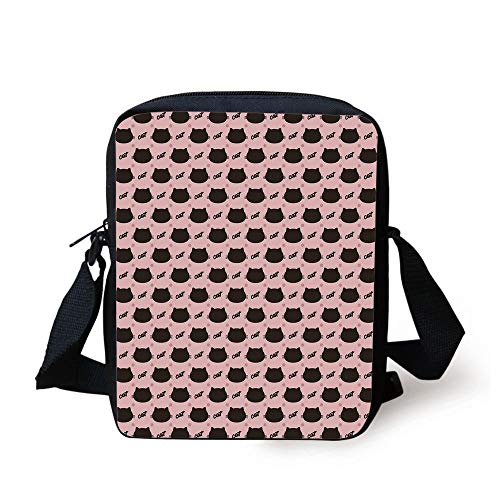 Cat,Dark Head Silhouettes Hand Writing and Dots Girlish Kids Design Sweet Abstract,Coral Seal Brown Print Kids Crossbody Messenger Bag Purse