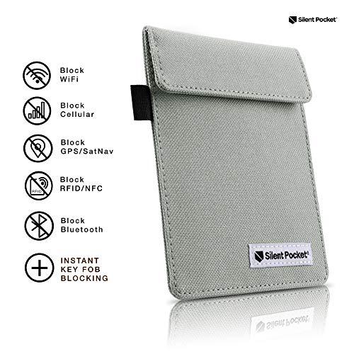 Silent Pocket Schlüsselanhänger Guard Displayschutzfolie für Wireless Car Schlüssel-RFID-blockierender Faradayscher Käfig, Grau Wireless Remote Pocket