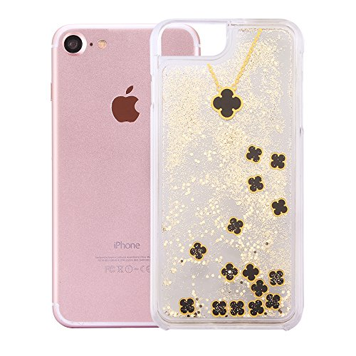 """Handyhülle für iPhone 7, Transparent Kristall CLTPY Ultra Hybrid 2 in 1 Weichsilikon & Hartplastik Schale Etui für iPhone 7, Glitzer Frei Fließenden Flüssigkeit Treibsand Fall für 4.7"""" Apple iPhone 7  Schwarz + Gold"""