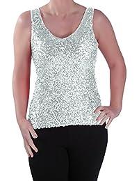 EyeCatch - Womens Sequin Sleeveless Glitzy Glamorous Party Ladies Vest Top
