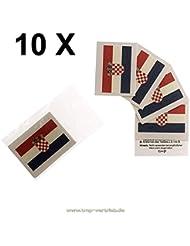10 x Kroatien Tattoo Fahnn Fan Set - EM Fanartikel 2016 - Croatia Flag Hrvatska