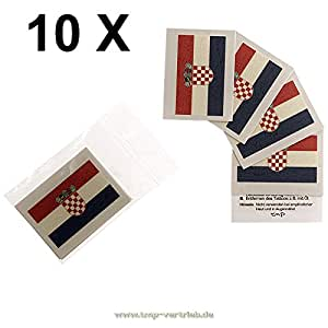 10 x Kroatien Tattoo Fahnn Fan Set – EM Fanartikel 2016 – Croatia Flag Hrvatska