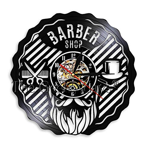 Denganxin Barbería Logotipo Disco de Vinilo Reloj de Pared Kit de peluquería Reloj de Pared Mesa Colgante peluquería Regalo Reloj de Pared de Vinilo 12 Pulgadas