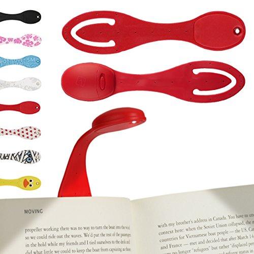 LAMPARA DE LECTURA PARA LIBRO - Linterna Flexo con Luz LED para leer libros en la cama | 2 EN 1 - Linterna ajustable con pinza clip y Marcapáginas | Pilas incluidas | Regalo ideal para lectores | Rojo