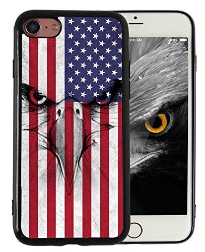 iPhone 7 iPhone 8 Coque Drapeau Américain Eagle vintage Motif imprimé fin à résistant en lisse en TPU Noir pour garçons Homme Cool Designs de protection - Kitata