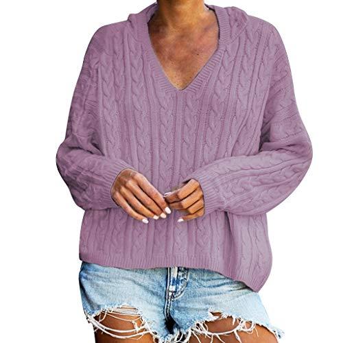GOKOMO Sweatshirt Pullover Top Mit Kapuze Lockerer V-Ausschnitt Damen Herbst Winter Kapuzenpullover Hoodie Mantel Langarmshirt(Lila,XX-Large) -