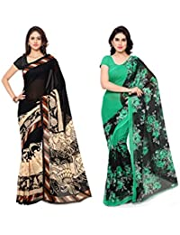 Kashvi Sarees Faux Georgette Multi Color Printed Pack Of 2 Saree With Blouse Piece ( 1134_1_1152_3 )