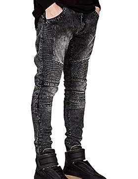 Uomo Biker Moto Jeans Denim Pantaloni Dritto Jogging Casuale Jeans