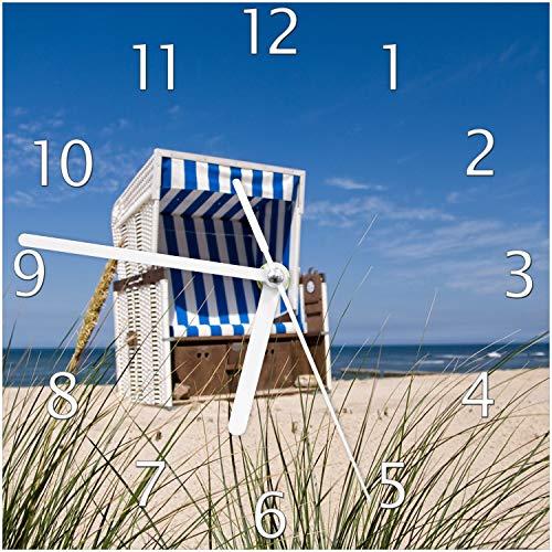 Wallario Glas-Uhr Echtglas Wanduhr Motivuhr; in Premium-Qualität; Größe: 20x20cm; Motiv: Strandkorb