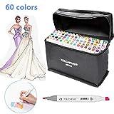 Cocoarm Marker Stift Set Graffiti Stift Manga Sketch Pen Twin Tip Textmarker Pens Farbige Fettige Stift mit Aufbewahrungstasche (Anime, 60 Farben)