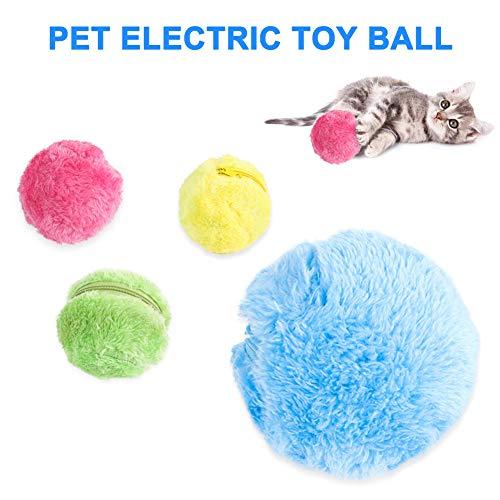 Chomile Automatischer Magic Roller Ball Spielzeug, Roboter Mikrofaser Mop Ball Sweeper Hund Katze Haustier Interaktives Spielzeug (1 Rollball und 4 Ballabdeckung) -