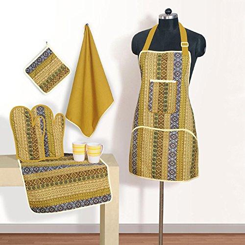 Grembiule set di modellato cotone chef con presina, guanti mezzi del forno & tovaglioli - perfect home cucina regalo o regalo bridal shower