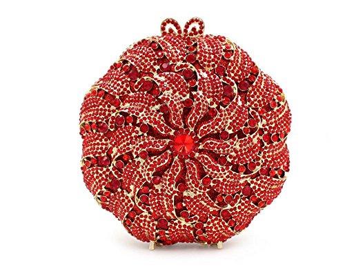 Damen Abendtasche Wasser-Diamant-Intarsien Blumen-Diamant-Armband Braut-Beutel-beweglicher Partei-Beutel Red