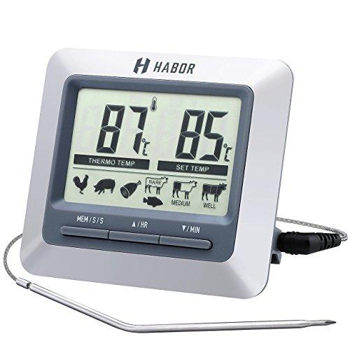 Habor thermomètre de cuisine, thermo-sonde de cuisson numérique avec écran LCD, sonde en Acier Inoxydable 304, thermomètre alimentaire pour grill bbq