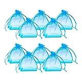 PandaHall 100PCS Sacchetti Regalo in Organza Sacchetti Portaconfetti Borse per Gioielli, Rettangolo, Ciano, circa 7cm di larghezza, 9cm di lunghezza