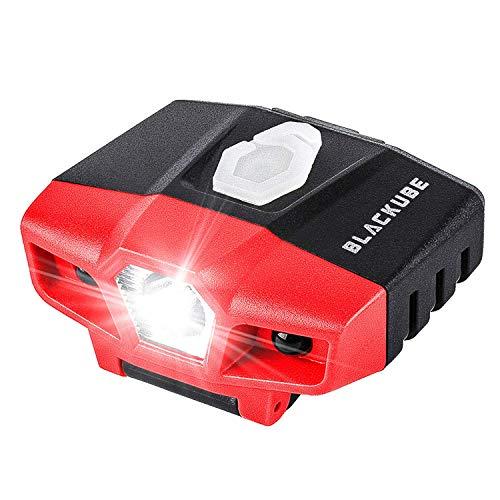 Blackube Stirnlampe, Kopflampe LED Akku Stirnlampe LED Wasserdicht Wiederaufladbar 3 Modi inkl. USB Kabel, Ideal für Wandern/Camping/Spazieren/Joggen/Angeln/Klettern(Rot)