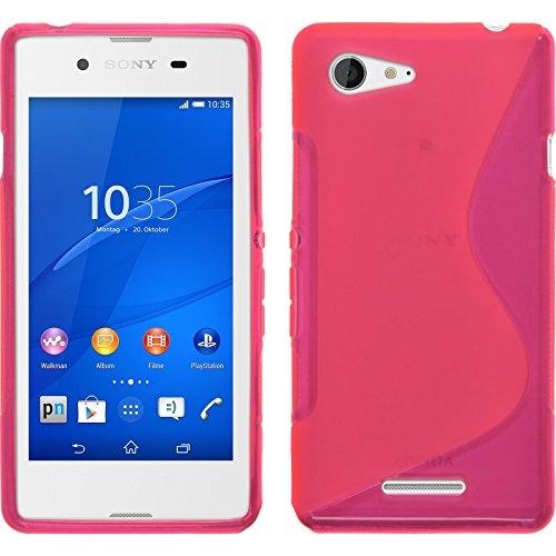 PhoneNatic Case kompatibel mit Sony Xperia E3 - pink Silikon Hülle S-Style + 2 Schutzfolien