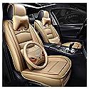 ADHW Sitzbezüge-Set, Luxus Leder Universal Autositzbezüge Vollständiger Satz zum Vordersitze und Rückbank 5 Sitze (Farbe : Beige)
