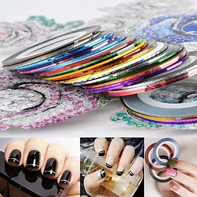 FOK Set of 10 Nail Art Stripping Roll Tape With 1 Tip Guide Sticker For Pretty Nail Decoration