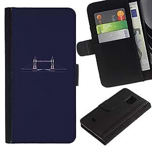 Paccase / Flip Leder Brieftasche Hülle Kartenhalter Schutz Etui für - Bridge Minimalist Blue Dark - Samsung Galaxy S5 Mini, SM-G800, NOT S5 REGULAR!