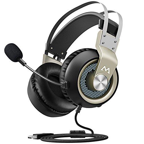 Mpow EG3 Auriculares Gaming USB para PC, 7.1 Sonido Estéreo, Micrófono de Cancelaciónd de Ruido, para Juegos PC PS4 Xbox One Ninten Switch, Cable 2.2m