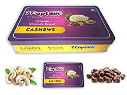 7Captain Chocolate covered Almonds Crunchy Almonds, Cashews, Pistachio & Raisins Drenched in Rich Chocolate (CASHEWS)