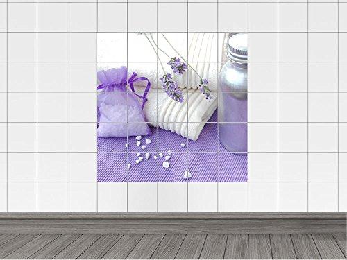 Adesivo per piastrelle bagno lavanda sali da bagno asciugamano