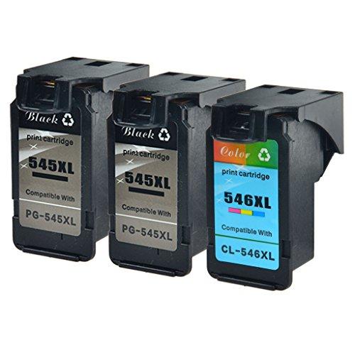 nineleaf remanufacturados cartuchos PG-545X L y CL-546X L de tinta de repuesto para Canon 545x l negro 546X L Tri-color PG545X L CL546X L Cartuchos de tinta para Canon Pixma IP2800IP2850MG2950mg3050MX495 2PK 545XL, 1PK 546XL