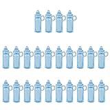 Sharplace 24pcs Mini Nuckelflasche / Babyflasche Anhänger Streudeko für Babyparty Baby Taufe Dekoration, Hellblau