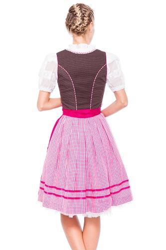 Krüger MADL Damen Dirndl Kleid 48736 Mehrfarbig (braun/pink 735)