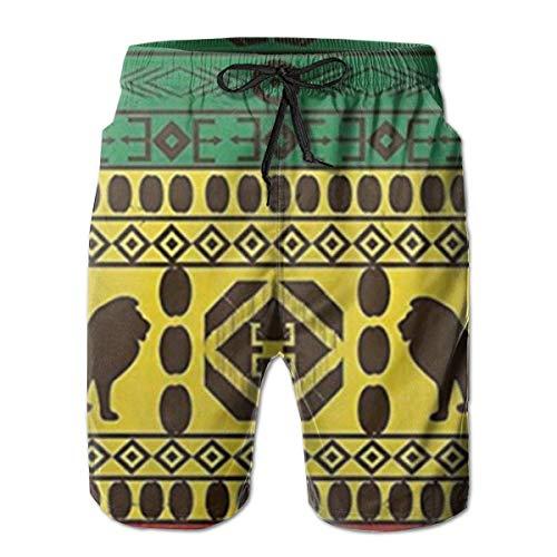 8768229d705624 Ye Hua Africain Motif Traditionnel Lions Rasta Jamaïque Mens Maillots De  Bain Été Cool Shorts À Séchage Rapide Plaid Maillot De Bain avec Poches ...