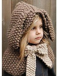 CGN Invierno niños Animales Sombreros de Punto Caliente cofia Capucha  Bufanda Lindo Conejo Crochet Capa para 604d68b10fb