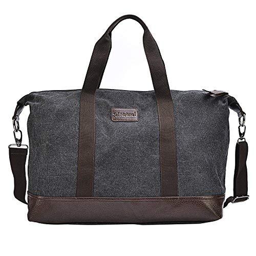 Sel Natural Reisetasche Canvas Weekender Tasche Handgepäck Sporttasche für Reise am Wochenend Urlaub -