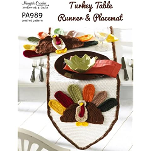 Crochet Pattern Turkey Table Runner and Placemat  PA989-R (English Edition)
