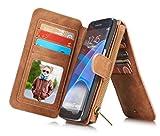 Rundumschutz Multifunktions-Echtleder [Große Kapazität] [2IN1 Abnehmbare Magnetadsorption] [Kartensteckplätze] [Reißverschluss Brieftasche] Fall Abdeckung für Samsung (Galaxy S7, Braun)