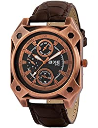AXE Style X1175KL01 Black Leather Strap With Copper Case New Collection Analog Watch - For Men