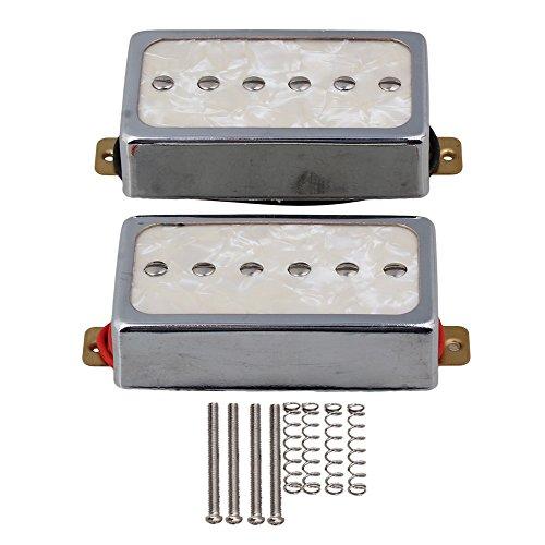 P90 Gitarre Pickups (Yibuy Silber Farbe Perle P90 Single Coil Bridge & Hals Pickups für E-Gitarre Teile)