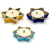 Aapno Rajasthan Multicolor Star Shape Wax Filled Candle Diyas- Set Of 4 For Diwali