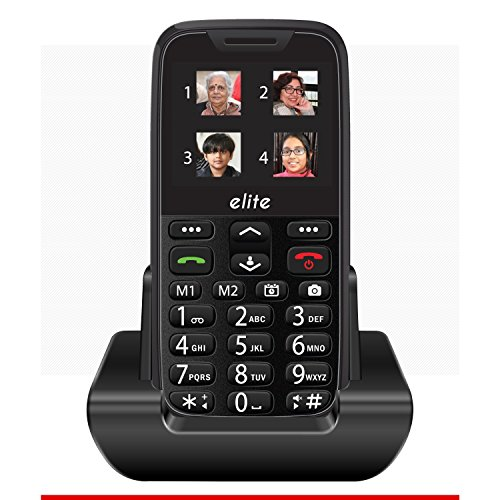 SENIOR WORLD Easyfone - Elite - India's Most Senior Citizen Friendly Phones with Superb Sound Quality and Over 20 Features (Black)