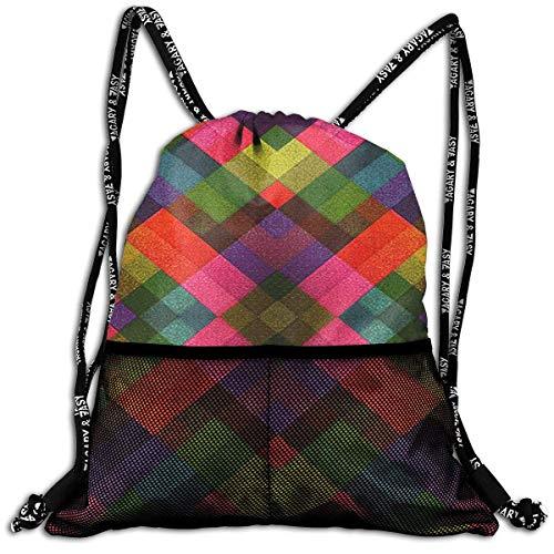 FIYOBQ Mochilas/Bolsas de Gimnasia Colorful Grid Casual Drawstring Back Pack Bundle Backpack
